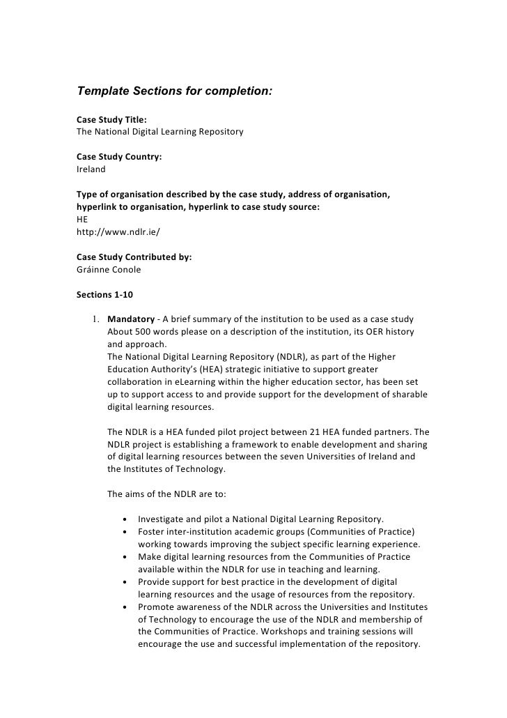 Template Sections for completion:  Case Study Title: The National Digital Learning Repository  Case Study Country: Ireland...