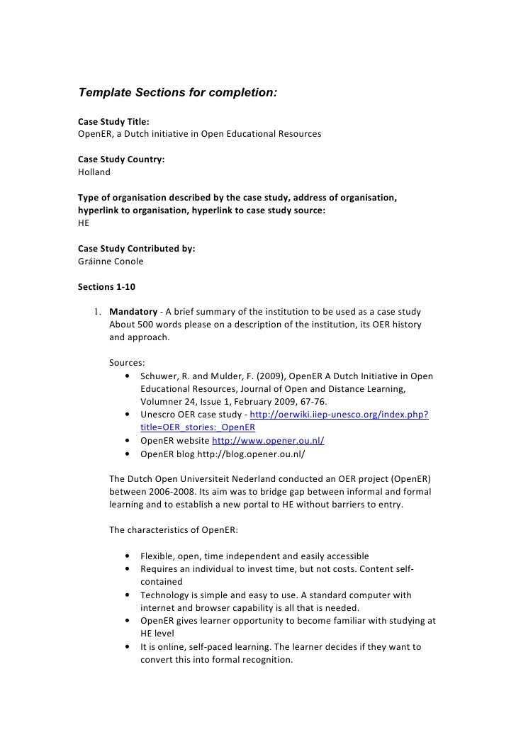 Template Sections for completion:  Case Study Title: OpenER, a Dutch initiative in Open Educational Resources  Case Study ...