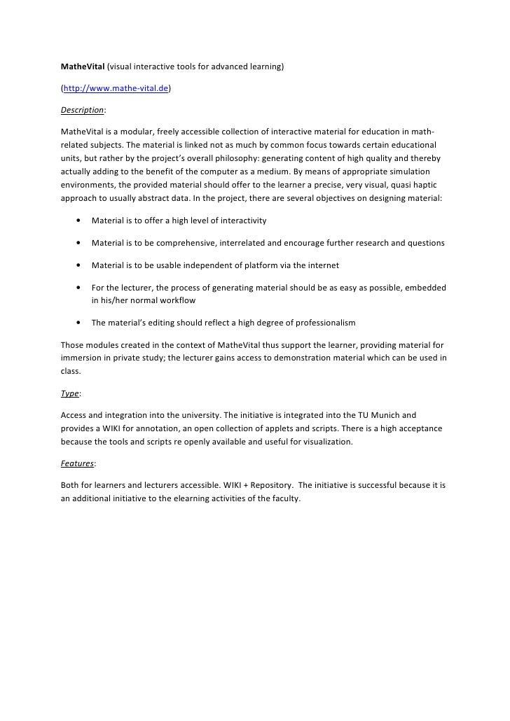 MatheVital (visual interactive tools for advanced learning)  (http://www.mathe-vital.de)  Description:  MatheVital is a mo...