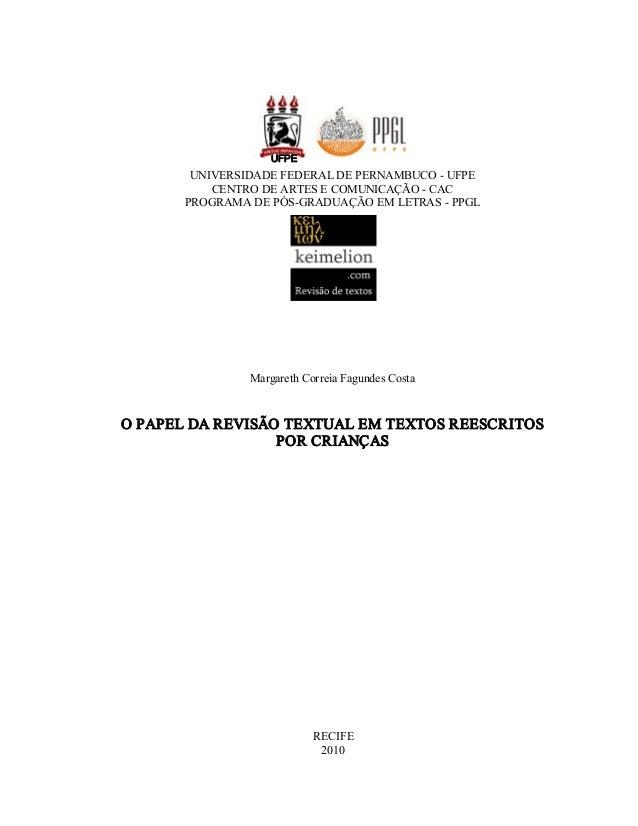 UFPE  UNIVERSIDADEFEDERALDEPERNAMBUCOUFPE CENTRODEARTESECOMUNICAÇÃOCAC PROGRAMADEPÓSGRADUAÇÃOEMLETRAS...