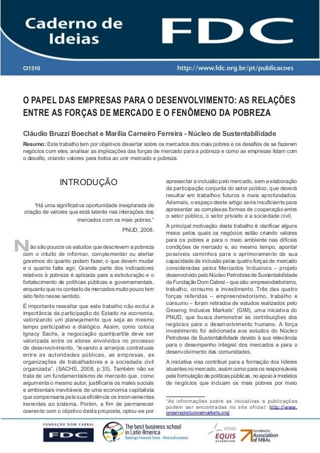 O PAPEL DAS EMPRESAS PARA O DESENVOLVIMENTO: AS RELAÇÕES ENTRE AS FORÇAS DE MERCADO E O FENÔMENO DA POBREZA