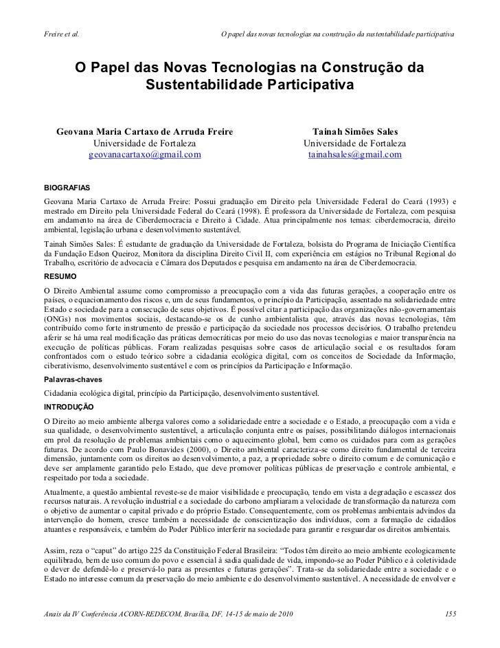 O papel das novas tecnologias na construção da sustentabilidade participativa - Geovana Maria Cartaxo de Arruda Freire, Tainah Simões Sales (2010)