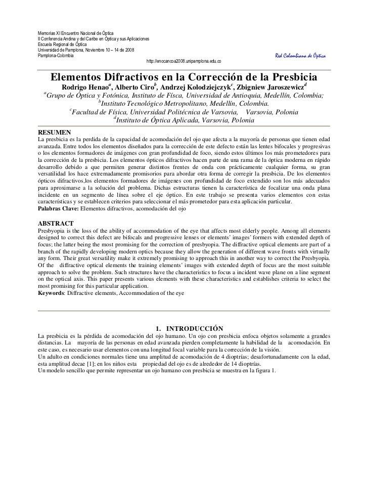 Memorias XI Encuentro Nacional de ÓpticaII Conferencia Andina y del Caribe en Óptica y sus AplicacionesEscuela Regional de...