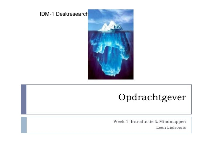 IDM-1 Deskresearch                       Opdrachtgever                     Week 1: Introductie & Mindmappen               ...