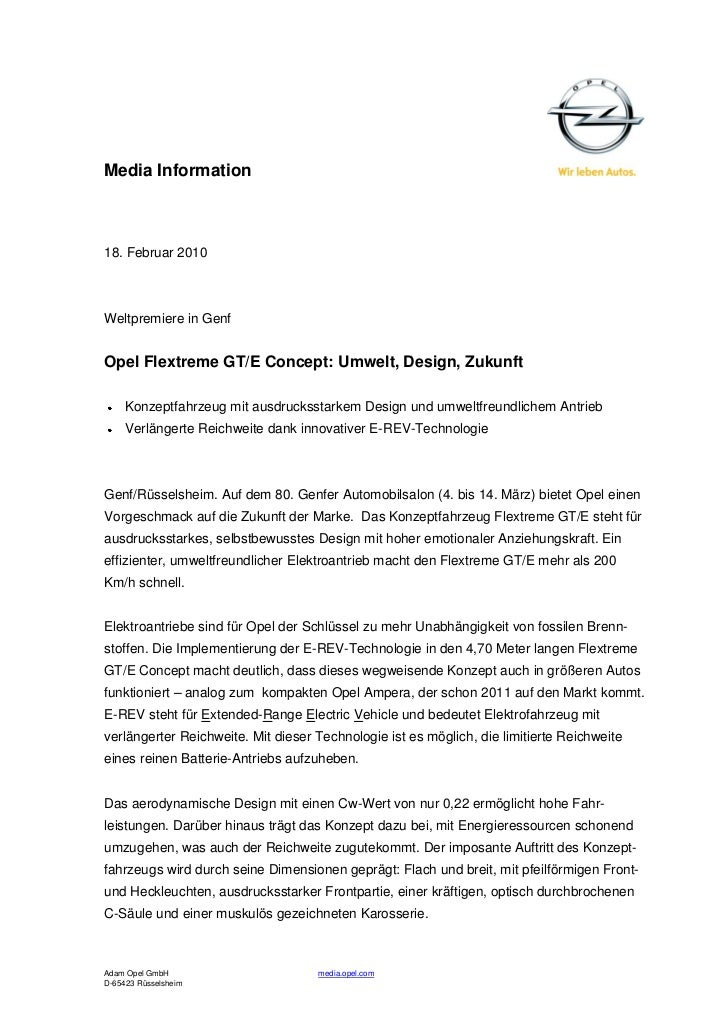 Media Information18. Februar 2010Weltpremiere in GenfOpel Flextreme GT/E Concept: Umwelt, Design, Zukunft     Konzeptfahrz...