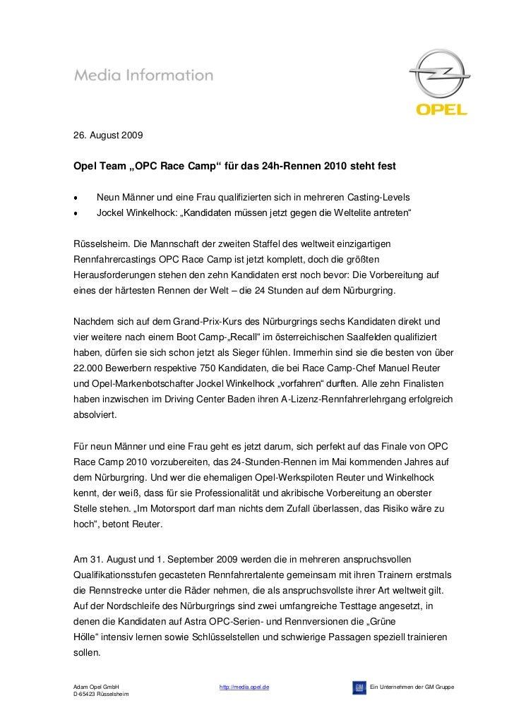 """26. August 2009Opel Team """"OPC Race Camp"""" für das 24h-Rennen 2010 steht fest        Neun Männer und eine Frau qualifizierte..."""