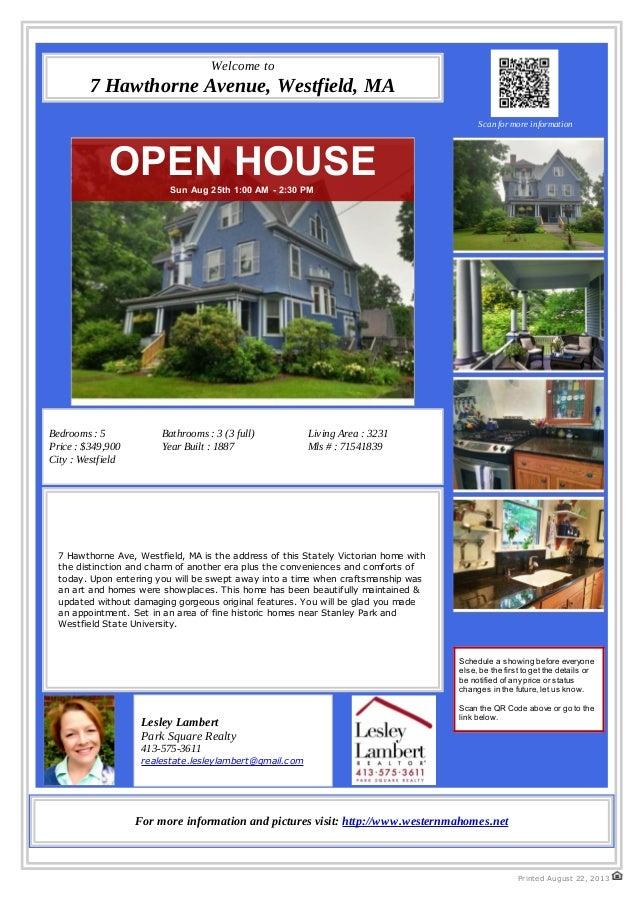Open House - 7 Hawthorne Avenue, Westfield, MA 01085