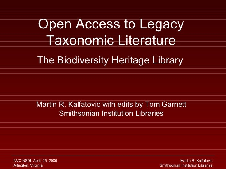 Open Access to Legacy Biodiversity Literature