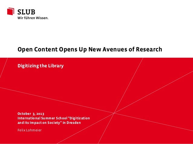 Open content opens up new avenues of research
