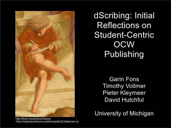 dScribing: Initial Reflections on Student-Centric OCW Publishing