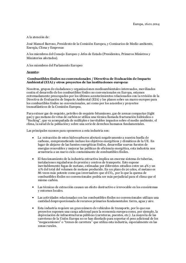 Carta de organizaciones sociales a organismos europeos sobre Directiva de Evaluación de Impacto Ambiental (EIA) y otros proyectos de las instituciones europeas