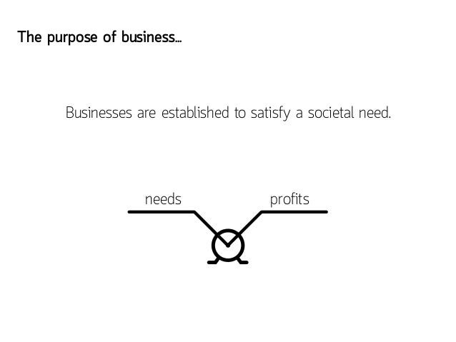 The purpose of business...       Businesses are established to satisfy a societal need.                    needs          ...