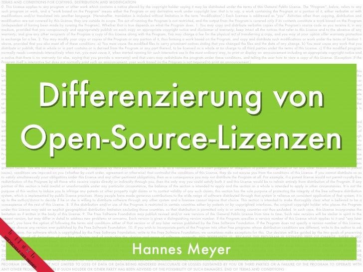 Differenzierung von Open Source Lizenzen