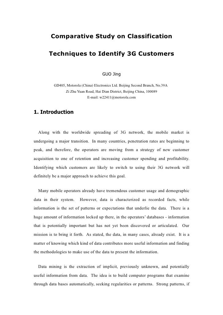 Comparative Study on Classification          Techniques to Identify 3G Customers                                          ...