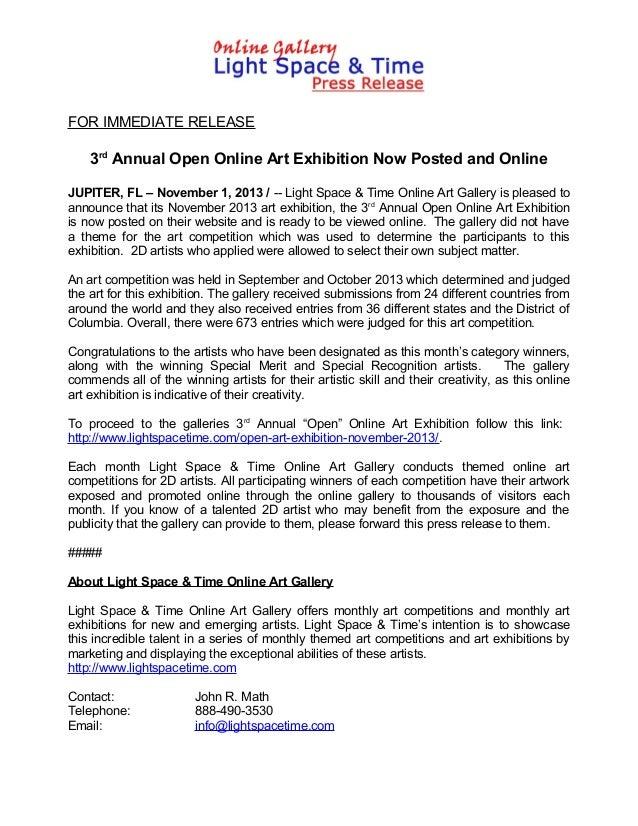 FOR IMMEDIATE RELEASE  3rd Annual Open Online Art Exhibition Now Posted and Online JUPITER, FL – November 1, 2013 / -- Lig...