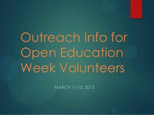 Open Education 2013 - Activities