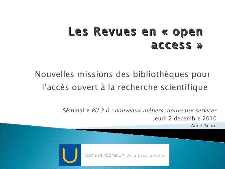 Les revues en open access