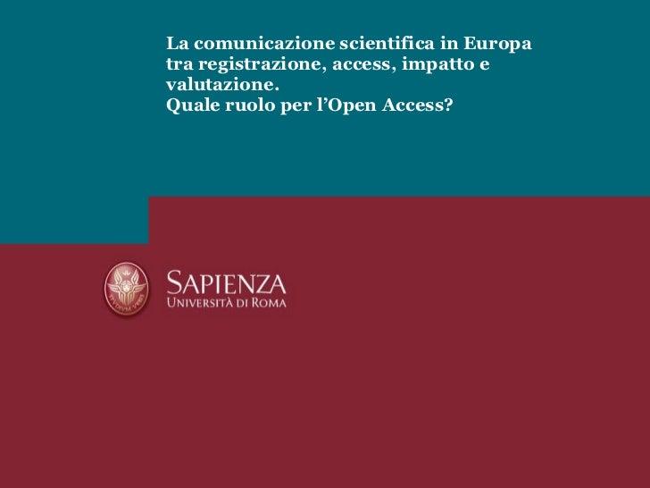 MJ Crowley - Open access week, Sapienza 20/10/2010