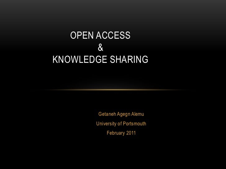 Open Access and Knowledge Sharing