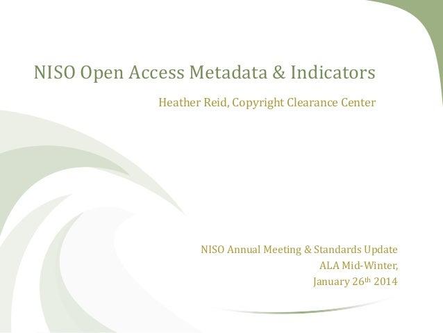 Open Access Metadata Indicators - NISO Update Jan 2014