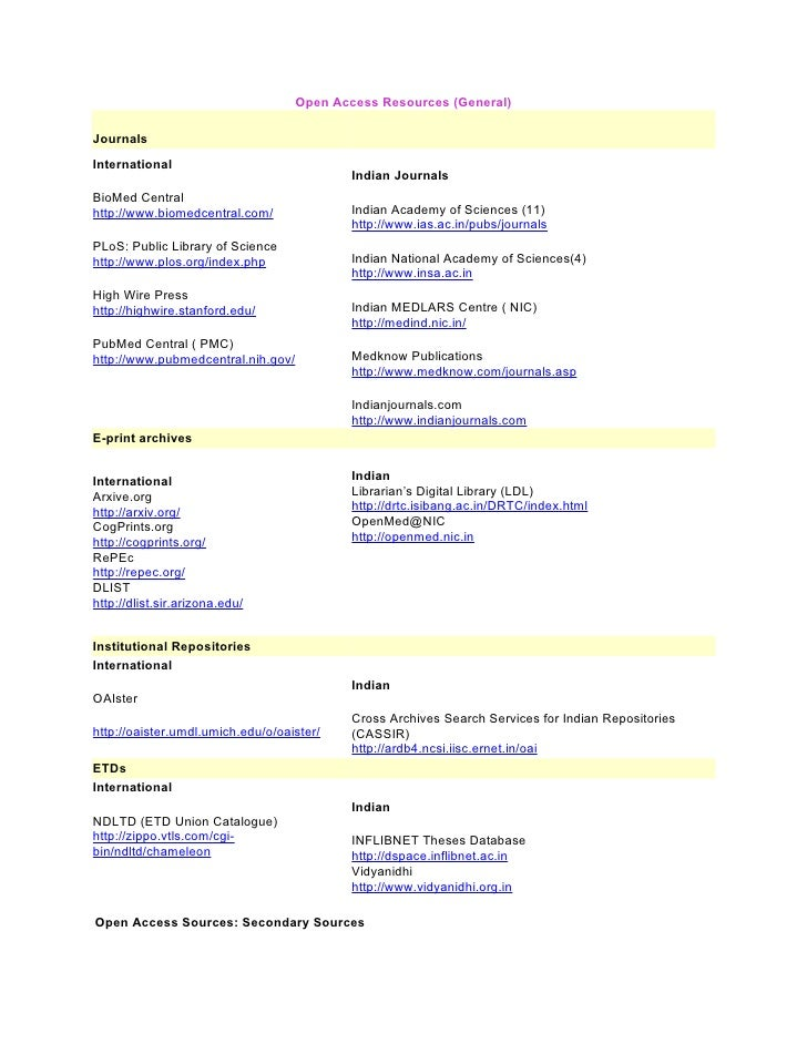 Open access resources