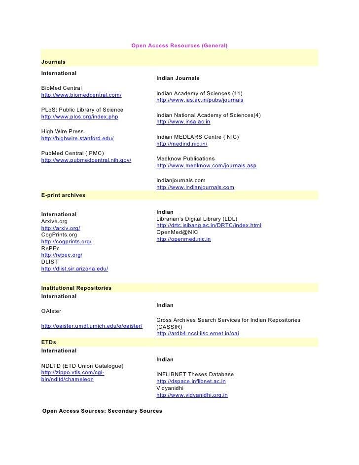 Open Access Resources (General)  Journals International                                             Indian Journals BioMed...
