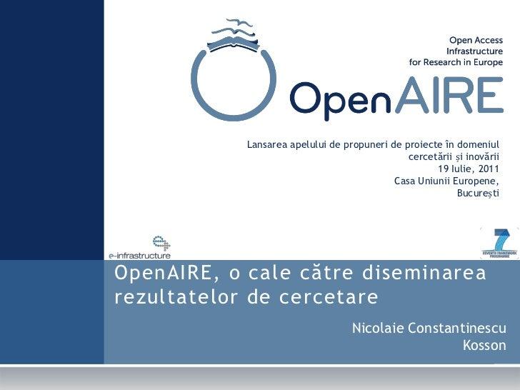 Lansareaapelului de propuneri de proiecte în domeniul cercetării și inovării<br />19 Iulie, 2011<br />Casa UniuniiEuropene...