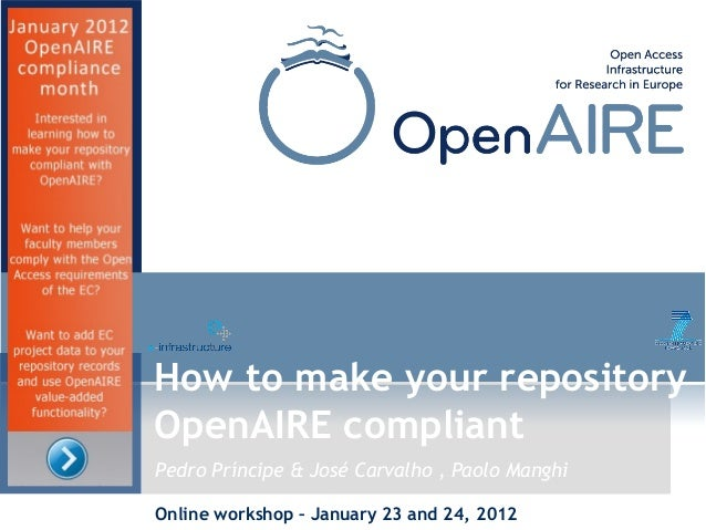 """OpenAIRE """"How to make your repository OpenAIRE compliant: proprietary platforms"""""""
