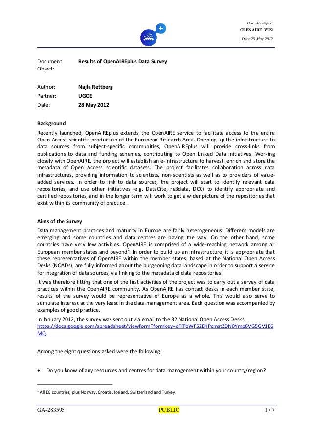OpenAIREplus Data Survey WriteUp2