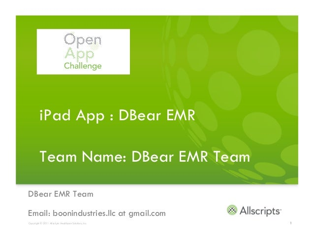 iPad App : DBear EMR          Team Name: DBear EMR TeamDBear EMR TeamEmail: boonindustries.llc at gmail.comCopyright © 201...