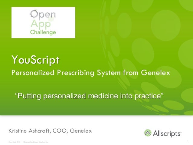 "YouScript   Personalized Prescribing System from Genelex        ""Putting personalized medicine into practice""Kristine Ashc..."