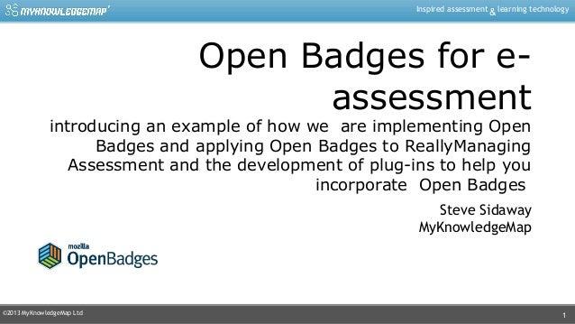 Openbadges for e-Assessment