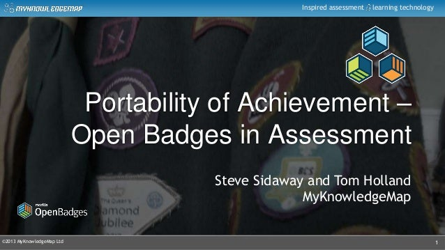 ©2013 MyKnowledgeMap LtdInspired assessment learning technologyPortability of Achievement –Open Badges in Assessment1Steve...