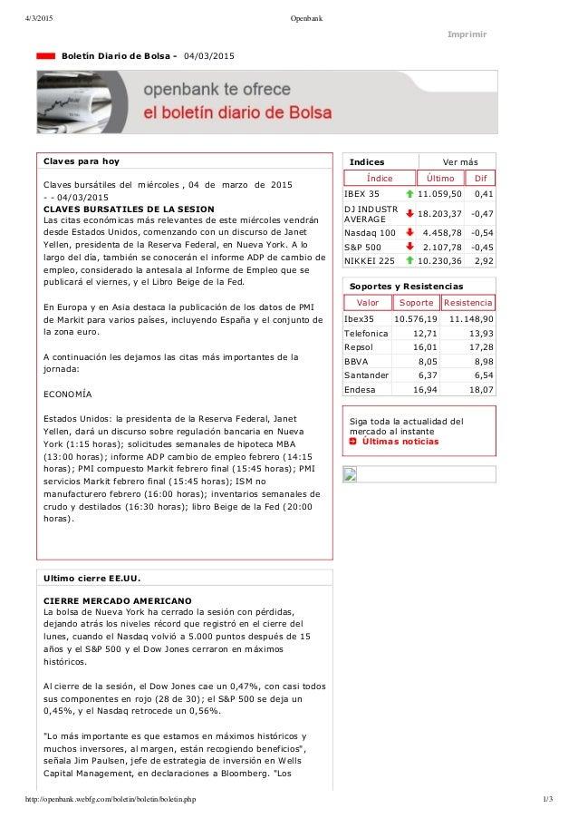 4/3/2015 Openbank http://openbank.webfg.com/boletin/boletin/boletin.php 1/3 Indices Vermás Índice Último Dif IBEX35 11.0...