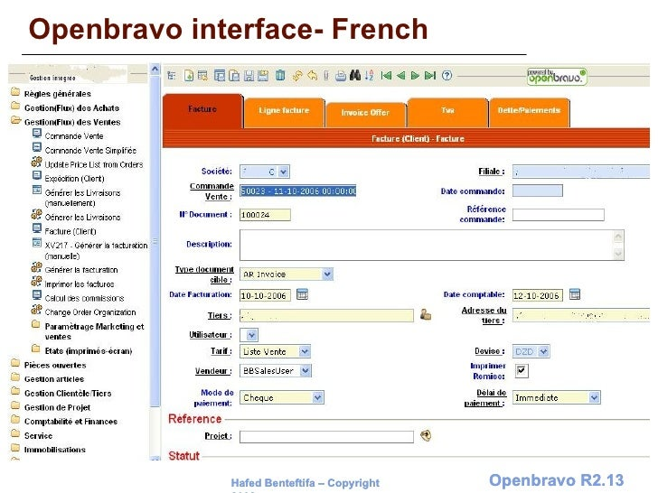 Openbravo interface- French