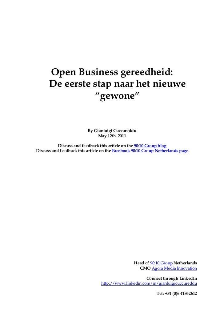 """Open Business gereedheid:      De eerste stap naar het nieuwe                """"gewone""""                          By Gianluig..."""