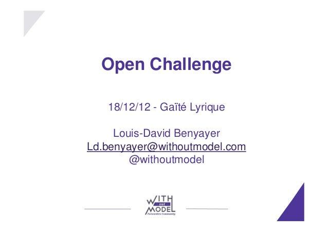 Open challenge : si tout est en creative commons, quels modèles économiques
