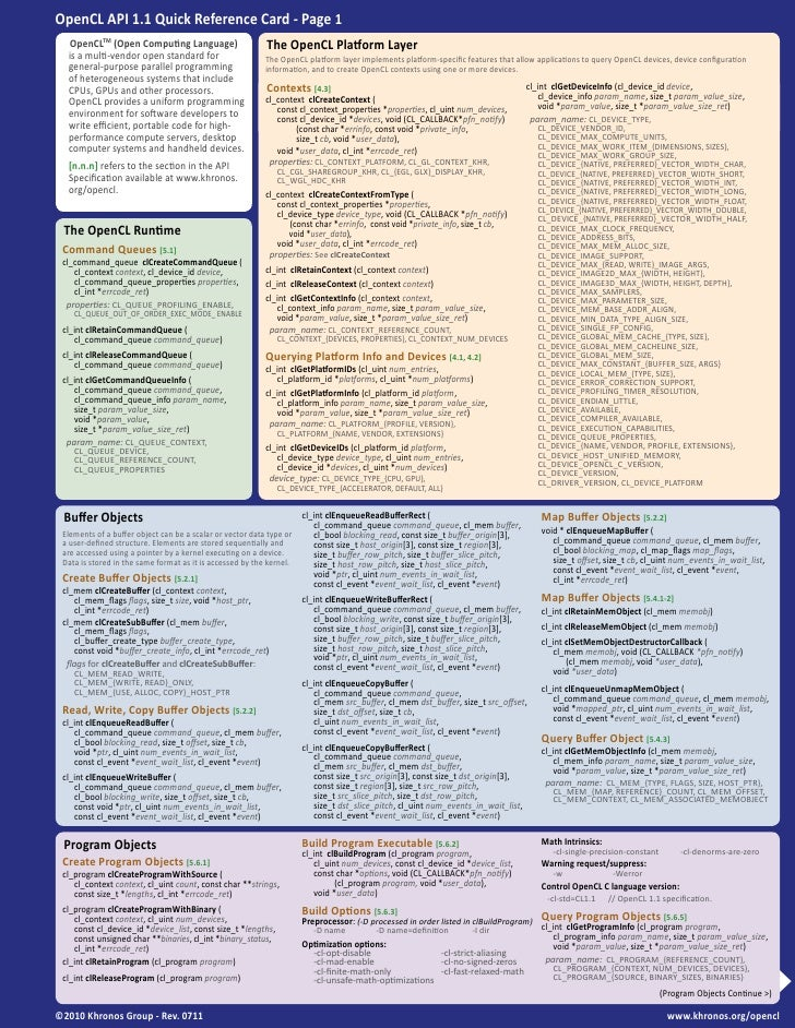 OpenCL 1.1 Reference Card