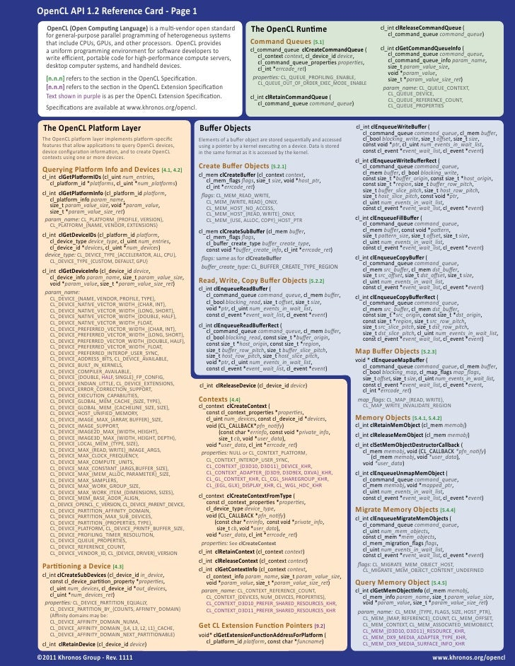 OpenCL 1.2 Reference Card