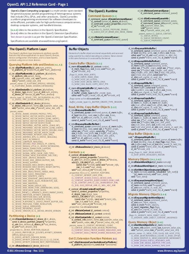 Opencl cheet sheet