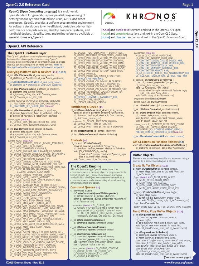 OpenCL 2.0 Reference Card Page 1 ©2015 Khronos Group - Rev. 1115 www.khronos.org/opencl  The OpenCL Runtime API calls tha...