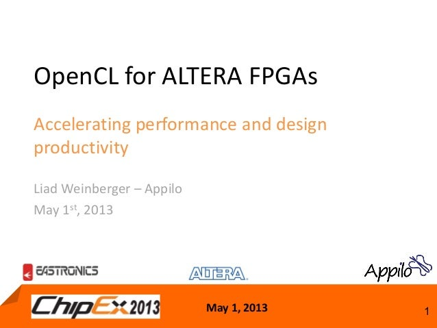 May 1, 2013 1OpenCL for ALTERA FPGAsAccelerating performance and designproductivityLiad Weinberger – AppiloMay 1st, 2013