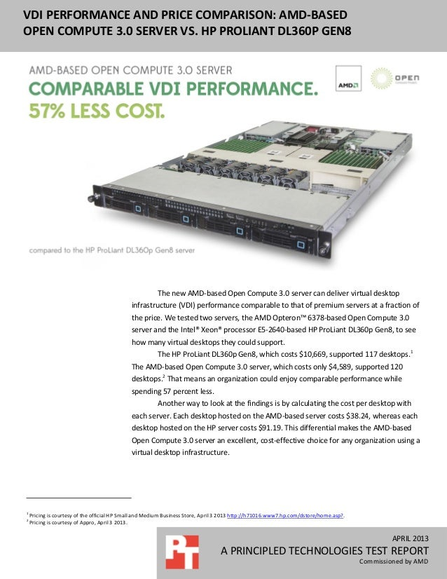 APRIL 2013A PRINCIPLED TECHNOLOGIES TEST REPORTCommissioned by AMDVDI PERFORMANCE AND PRICE COMPARISON: AMD-BASEDOPEN COMP...