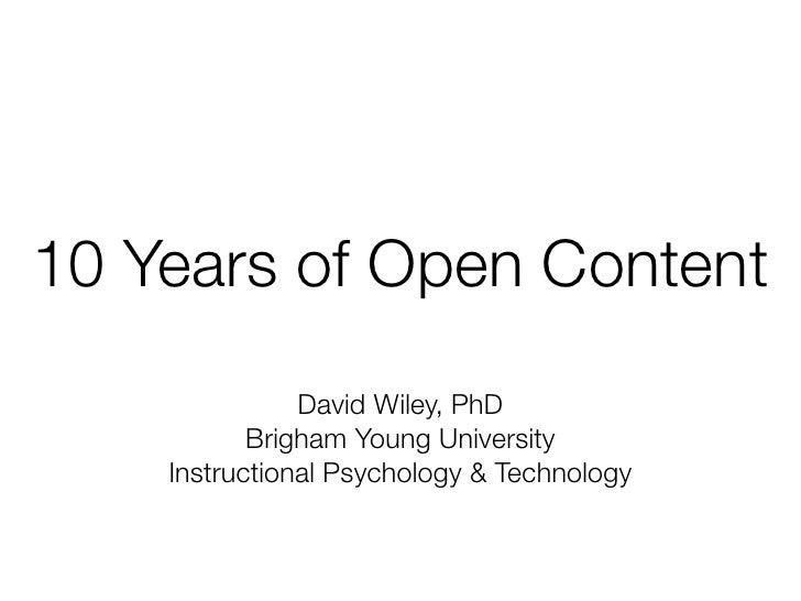 Ten Years of Open Content
