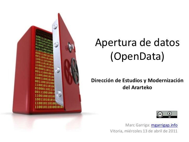 Apertura de datos (OpenData)Dirección de Estudios y Modernización del Ararteko<br />Marc Garriga: mgarrigap.info<br />Vito...