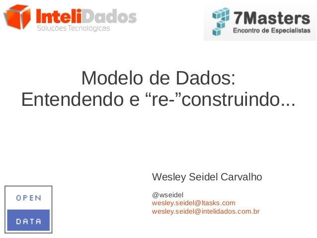 "Modelo de Dados:Entendendo e ""re-""construindo...Wesley Seidel Carvalho@wseidelwesley.seidel@ltasks.comwesley.seidel@inteli..."