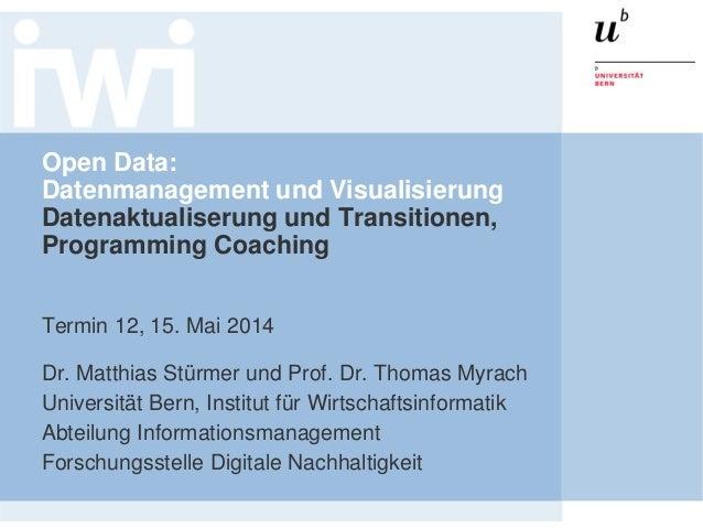 Open Data: Datenmanagement und Visualisierung Datenaktualiserung und Transitionen, Programming Coaching Termin 12, 15. Mai...