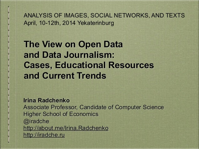 Open Data and Data Journalism