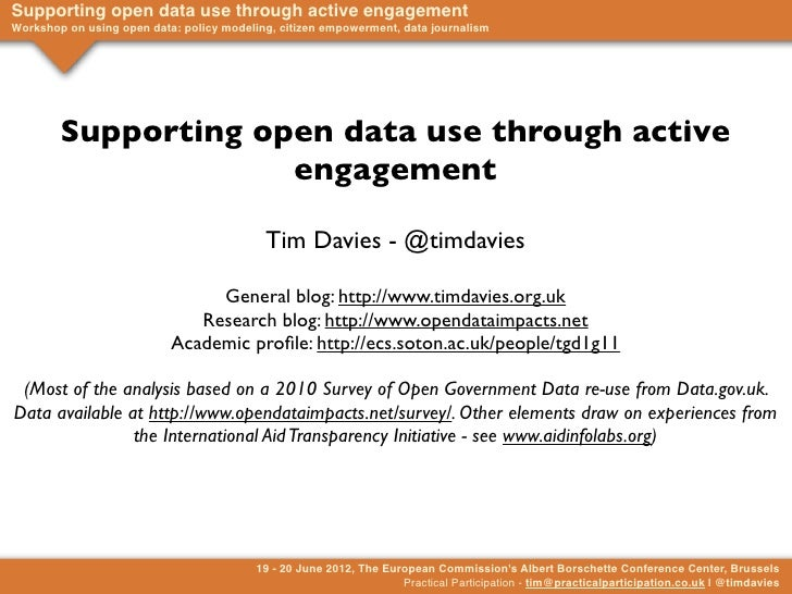 Supporting open data use through active engagementWorkshop on using open data: policy modeling, citizen empowerment, data ...