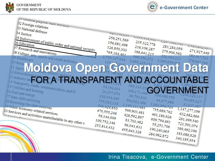 Moldova Open Government Data by Mrs. Irina Tisacova